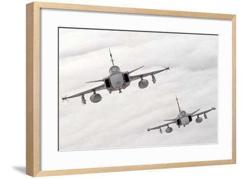 A Pair of Hungarian Air Force Jas-39 Gripen over Lithuania-Stocktrek Images-Framed Art Print