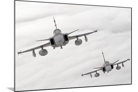 A Pair of Hungarian Air Force Jas-39 Gripen over Lithuania-Stocktrek Images-Mounted Photographic Print