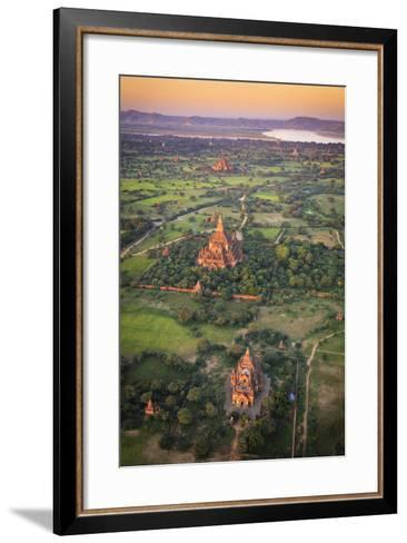 Myanmar (Burma), Temples of Bagan (Unesco World Heritage Site) Elevated View from Baloon-Michele Falzone-Framed Art Print