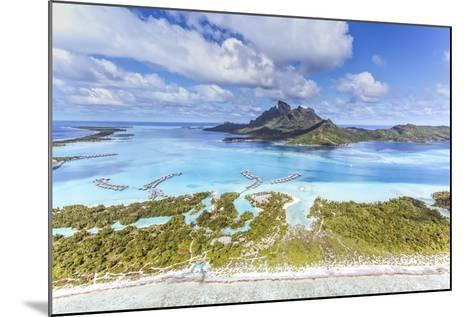 Aerial View of Bora Bora Island with St Regis and Four Seasons Resorts, French Polynesia-Matteo Colombo-Mounted Photographic Print