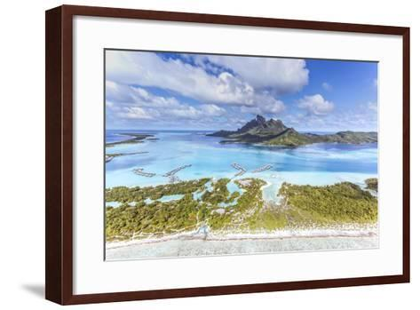 Aerial View of Bora Bora Island with St Regis and Four Seasons Resorts, French Polynesia-Matteo Colombo-Framed Art Print