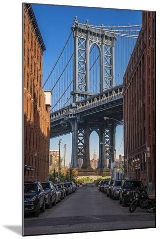 View Toward Manhattan Bridge with the Empire State Building in the Background, Brooklyn, New York-Stefano Politi Markovina-Mounted Photographic Print
