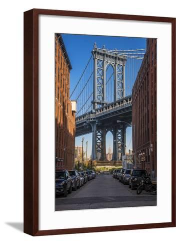 View Toward Manhattan Bridge with the Empire State Building in the Background, Brooklyn, New York-Stefano Politi Markovina-Framed Art Print