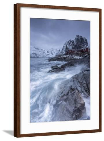 Waves Crashing on the Cliffs Near the Houses of the Fishermen-ClickAlps-Framed Art Print