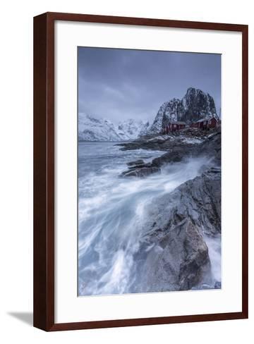 Waves Crashing on the Cliffs Near the Houses of the Fishermen-ClickAlps-Framed Art Print