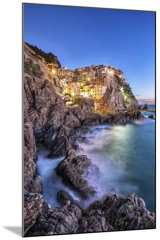 Manarola Village Illuminated by the Blue Light of Dusk with its Typical Pastel Colored Houses-ClickAlps-Mounted Photographic Print