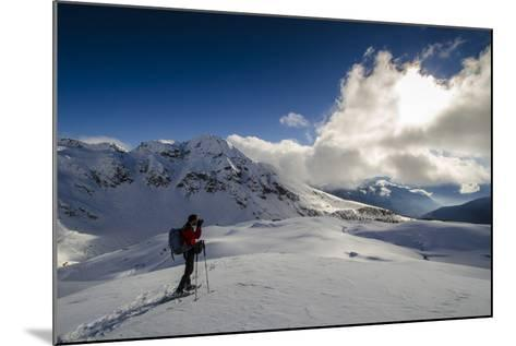 A Hiker Photographing the Winter Landscape (Val D'Ayas, Valle D'Aosta)-ClickAlps-Mounted Photographic Print