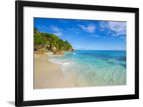 Palm Trees and Tropical Beach, La Digue, Seychelles-Jon Arnold-Framed Art Print