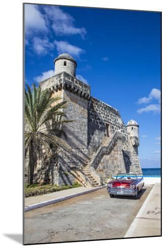 Cojimar Fort and 1959 Dodge Custom Loyal Lancer Convertible, Cojimar, Havana, Cuba (Mr)-Jon Arnold-Mounted Photographic Print