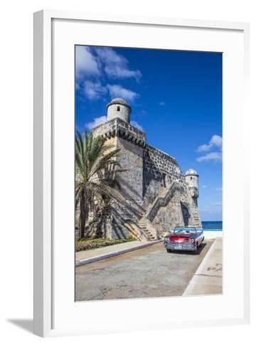 Cojimar Fort and 1959 Dodge Custom Loyal Lancer Convertible, Cojimar, Havana, Cuba (Mr)-Jon Arnold-Framed Art Print