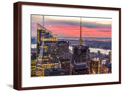 Midtown Skyline with Empire State Building from the Rockefeller Center, Manhattan, New York City-ClickAlps-Framed Art Print