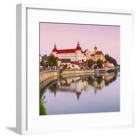 Neuburg Castle Reflected in the River Danube at Dawn, Neuburg, Neuburg-Schrobenhausen-Doug Pearson-Framed Art Print