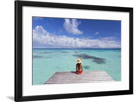 Woman Sitting on Jetty, Fakarava, Tuamotu Islands, French Polynesia (Mr)-Ian Trower-Framed Art Print