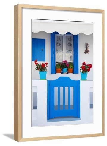 Europe, Greece, Cyclades Island,Aegean Sea, Mykonos, Myconos, Blue Gate at Private Home-Christian Heeb-Framed Art Print