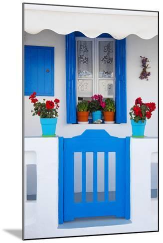 Europe, Greece, Cyclades Island,Aegean Sea, Mykonos, Myconos, Blue Gate at Private Home-Christian Heeb-Mounted Photographic Print