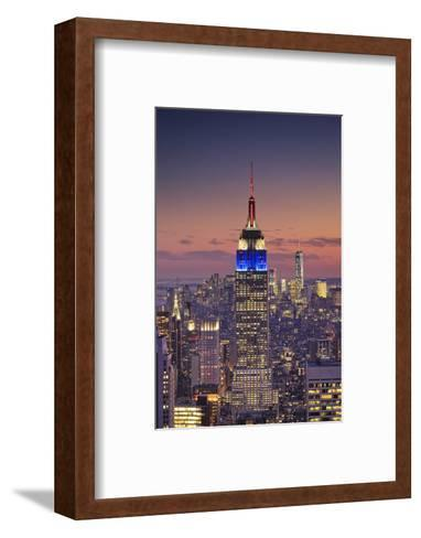 Usa, New York, Manhattan, Top of the Rock Observatory, Midtown Manhattan and Empire State Building-Michele Falzone-Framed Art Print