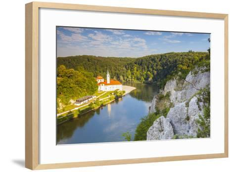 Elevated View over Weltenburg Abbey and the River Danube, Lower Bavaria, Bavaria, Germany-Doug Pearson-Framed Art Print