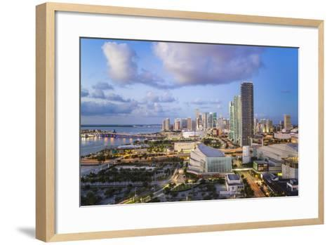 Elevated View over Biscayne Boulevard and the Skyline of Miami, Florida, USA-Gavin Hellier-Framed Art Print