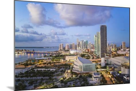 Elevated View over Biscayne Boulevard and the Skyline of Miami, Florida, USA-Gavin Hellier-Mounted Photographic Print