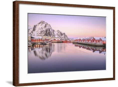 Pink Sunset over the Typical Red Houses Reflected in the Sea. Svollvaer, Lofoten Islands, Norway-ClickAlps-Framed Art Print