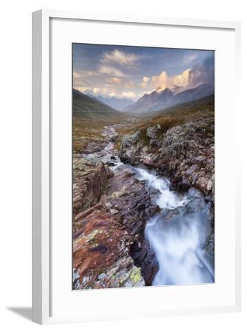 Gavia Pass, Stelvio National Park, Lombardy, Italy. Mountain River at Sunset.-ClickAlps-Framed Art Print