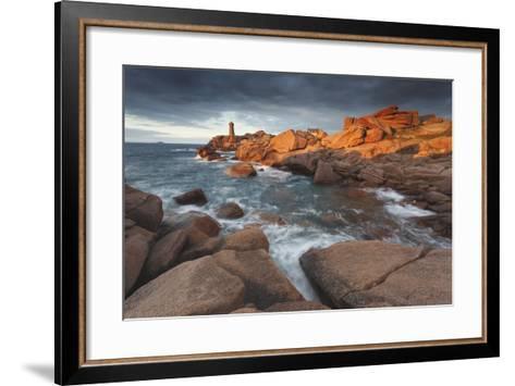 Pink Granite Coast, Brittany, France. the Ploumanach Lighthouse (Men Ruz) an Sunset.-ClickAlps-Framed Art Print