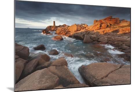 Pink Granite Coast, Brittany, France. the Ploumanach Lighthouse (Men Ruz) an Sunset.-ClickAlps-Mounted Photographic Print