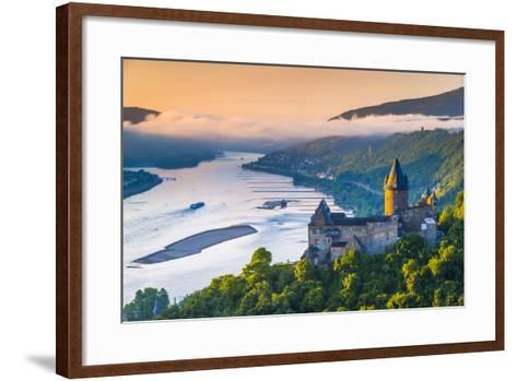 Germany, Rhineland Palatinate, Bacharach, Burg Stahleck (Stahleck Castle), River Rhine-Alan Copson-Framed Art Print