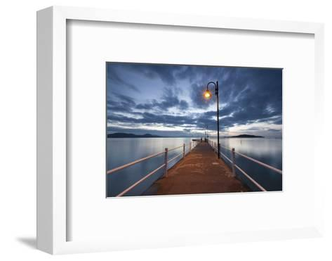 Pier of Lake Trasimeno at Dusk, Perugia, Umbria, Italy.-ClickAlps-Framed Art Print