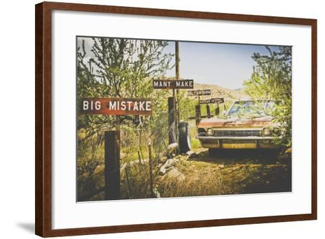 Usa, Route 66, Details of an Old Rugged Coca Cola Fridge and Car, Vintage Processing-Francesco Riccardo Iacomino-Framed Art Print