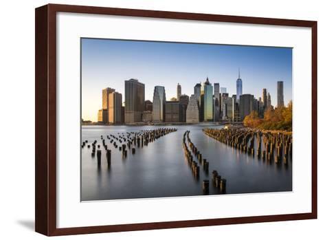 Lower Manhattan Skyline at Sunset from Brooklyn Bridge Park, Brooklyn, New York, USA-Stefano Politi Markovina-Framed Art Print