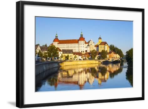 Neuburg Castle Reflected in the River Danube, Neuburg, Neuburg-Schrobenhausen, Bavaria, Germany-Doug Pearson-Framed Art Print