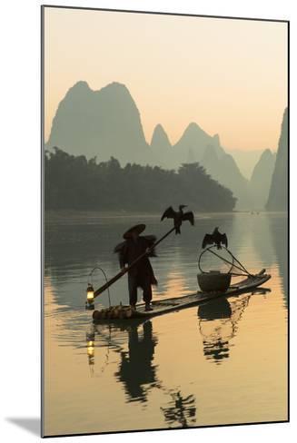 Cormorant Fisherman on Li River at Dawn, Xingping, Yangshuo, Guangxi, China-Ian Trower-Mounted Photographic Print