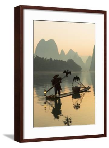 Cormorant Fisherman on Li River at Dawn, Xingping, Yangshuo, Guangxi, China-Ian Trower-Framed Art Print