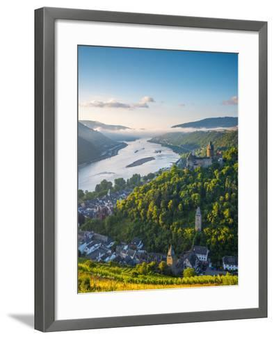 Germany, Rhineland Palatinate, Bacharach and Burg Stahleck (Stahleck Castle), River Rhine-Alan Copson-Framed Art Print