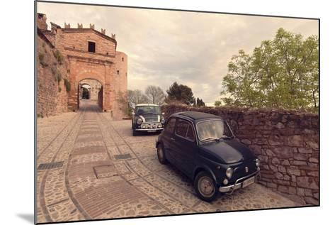 Glimpse of Spello with Vintage Cars in the Foreground, Spello, Perugia District, Umbria, Italy-ClickAlps-Mounted Photographic Print
