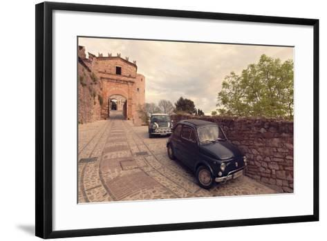 Glimpse of Spello with Vintage Cars in the Foreground, Spello, Perugia District, Umbria, Italy-ClickAlps-Framed Art Print
