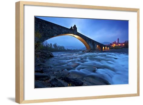 Hunchbacked Devil Bridge in Bobbio, Trebbia Valley, Piacenza, Emilia Romagna, Italy-ClickAlps-Framed Art Print