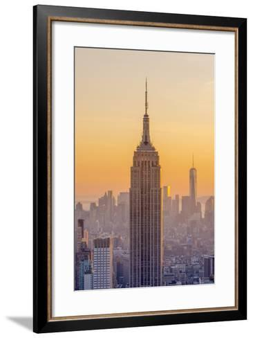 Usa, New York, Midtown and Lower Manhattan, Empire State Building and Freedom Tower-Alan Copson-Framed Art Print