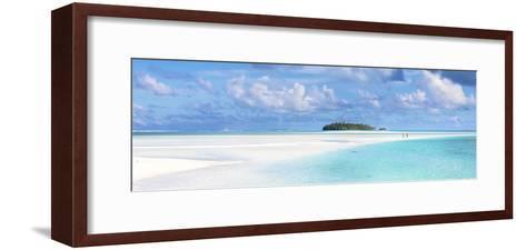 Tourist Couple on Sand Bar in Aitutaki Lagoon, Cook Islands-Matteo Colombo-Framed Art Print