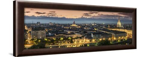 Panoramic View at Dusk, Turin, Piedmont, Italy-Stefano Politi Markovina-Framed Art Print
