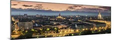 Panoramic View at Dusk, Turin, Piedmont, Italy-Stefano Politi Markovina-Mounted Photographic Print