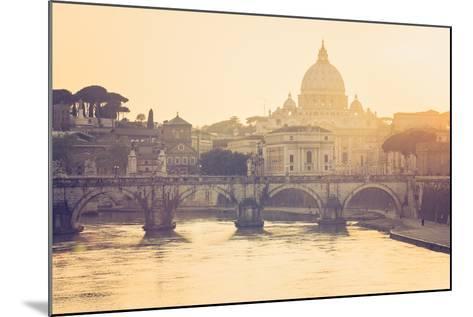 Rome, Lazio, Italy. St Angel Bridge at Sunset.-Marco Bottigelli-Mounted Photographic Print