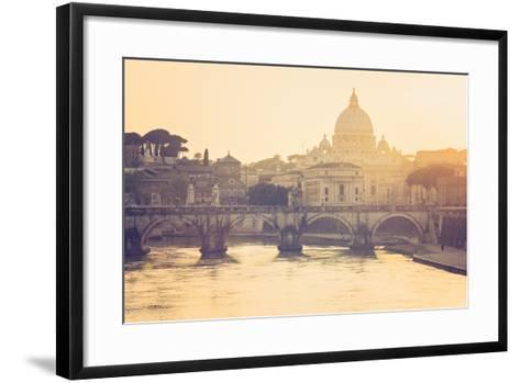 Rome, Lazio, Italy. St Angel Bridge at Sunset.-Marco Bottigelli-Framed Art Print