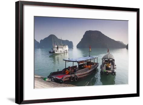 Vietnam, Halong Bay, Tito Island, Water Taxis-Walter Bibikow-Framed Art Print