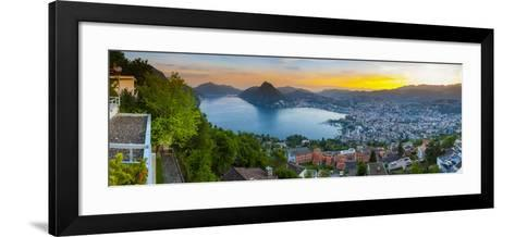 Elevated View over Lugano Illuminated at Sunset, Lake Lugano, Ticino, Switzerland-Doug Pearson-Framed Art Print