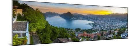 Elevated View over Lugano Illuminated at Sunset, Lake Lugano, Ticino, Switzerland-Doug Pearson-Mounted Photographic Print