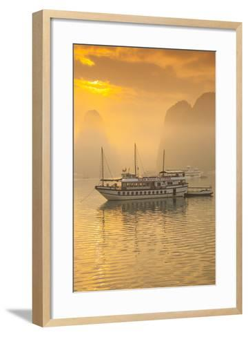 Vietnam, Halong Bay, Tourist Boats, Sunrise-Walter Bibikow-Framed Art Print
