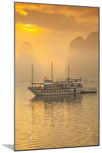 Vietnam, Halong Bay, Tourist Boats, Sunrise-Walter Bibikow-Mounted Photographic Print