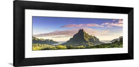 Sunrise over Mt Rotui, Opunohu Bay and Cook's Bay, Moorea, French Polynesia-Matteo Colombo-Framed Art Print